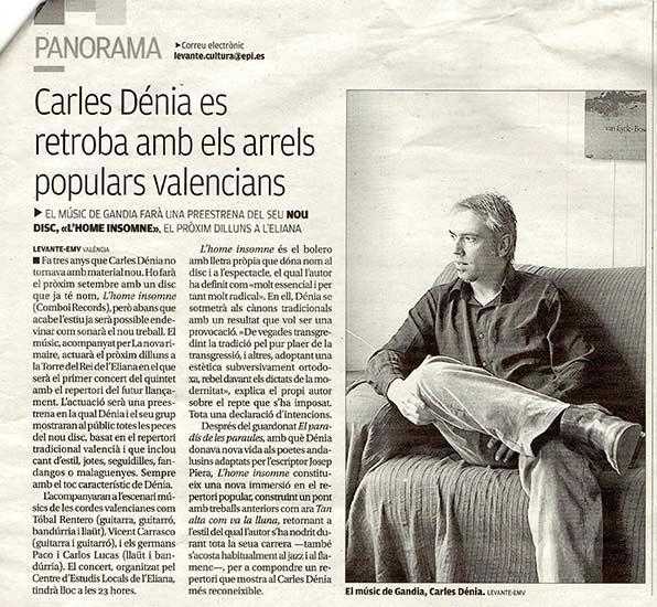 Carles Dénia nou disc preestrena